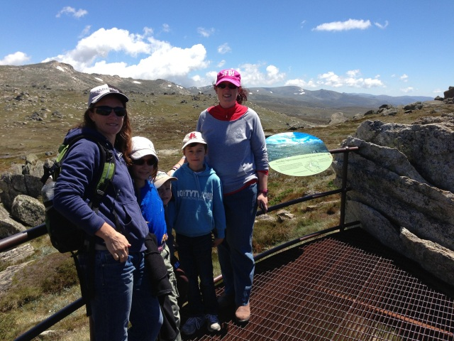 My sister, her children and myself at the Mt Kosciuszko lookout