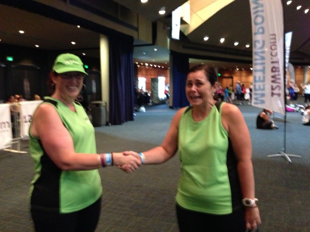 My friend Donna & I making a deal on goals for Rd 1